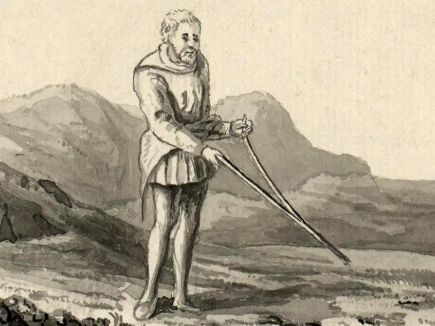 A depiction of a divining rod in use in Britain during the late 18th century, from a volume by Thomas Pennant.