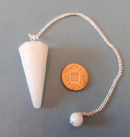 White Onyx Gemstone Pendulum with chain